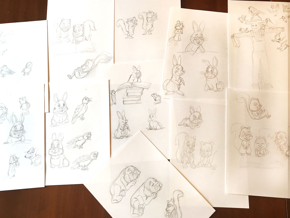 garden shed little library character sketches thumb